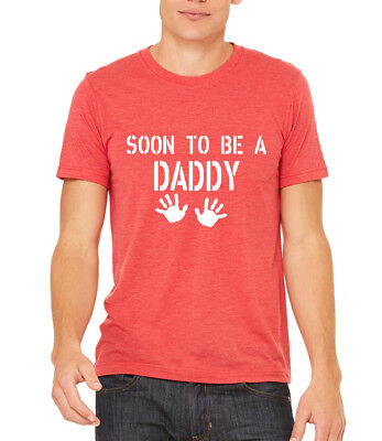 Fun Pregnancy T Shirts (Men's Soon To Be A Daddy Tri-Blend Red T Shirt C1 Dad Maternity Father Fun)