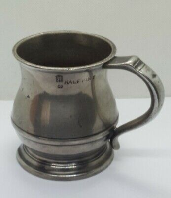 Antique G.R. and Crown Half Pint Pewter Mug, Tankard - Brown & Englefield
