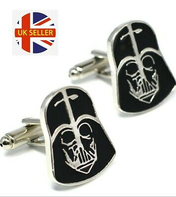 New Star Wars Darth Vader Enamel Novelty Movie Film Cufflinks Suit Gift Bag 🇬🇧