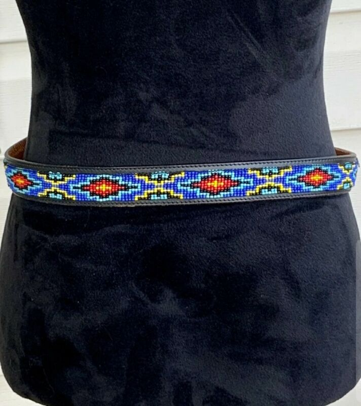 Amazing Vintage Native American Seed Bead Leather Belt- Very Detailed and Unique