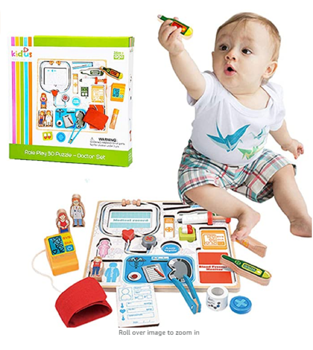 Wooden Doctor Kit for Kids Learning Resources Pretend Play Toys Doctor Set 12 Pc Doctor/ Nurse Kits