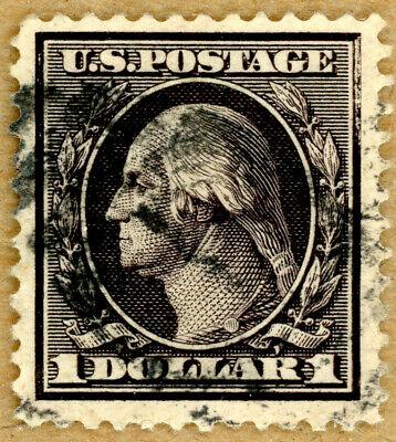 US Scott#342 XF 1908 $1 perf 12 Washington,dbl line watermark,wide margins,sound