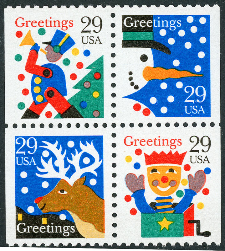 US Scott #2795-98 Christmas Designs Block of 4 from Booklet BK212  MNH*FREE SHIP