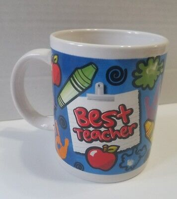 "Coffee Cup Mug 10 Oz. Best Teacher gift Crayons Apples 3 3/4"" white blue hands"
