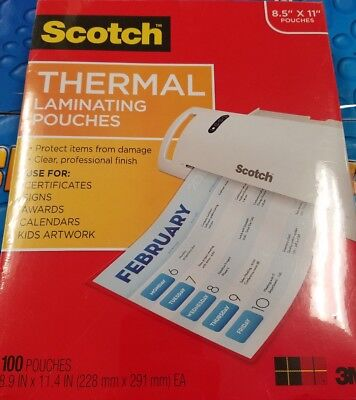 Scotch Letter Size Thermal Laminating Pouches 3 Mil 11 12 X 9 100 Per Pack