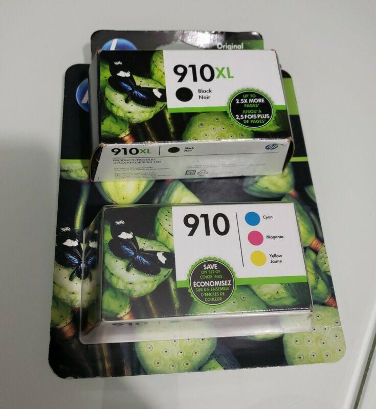 HP 910xl Black & 910 Cyan Yellow & Magenta Ink Cartridges 3JB41AN Dated 2022 W