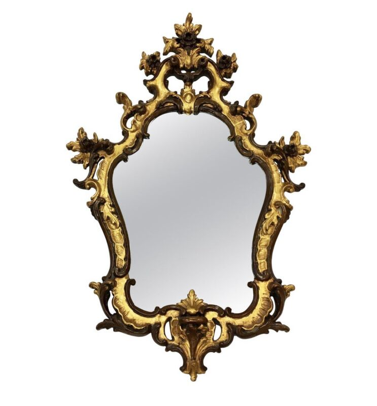 Magnificent Rococo Style Ornate Carved Gold Wall Mirror Made in Italy