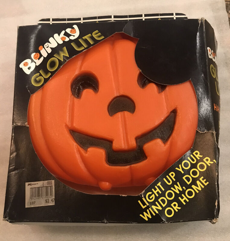 Vintage Blinky Glow Lite Pumpkin with Box FREE SHIPPING