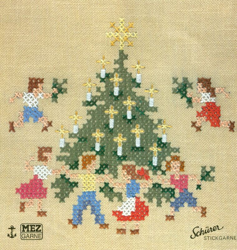 NEW Lindhorst Needlepoint Cross Stitchery Kit Christmas Stitch German Tablecloth