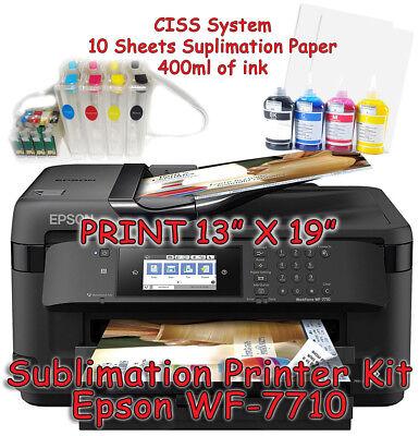Epson WF-7710 Sublimation Printer Bundle with CISS Kit, Sublimation Ink & Paper