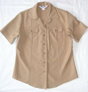 US-Navy-USN-WOMENS-SUMMER-KHAKI-Enlisted-POLY-WOOL-Uniform-S-S-SHIRT ...
