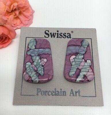 """New Vintage Swissa Porcelain Art Pierced 1 3/8"""" Earrings 1976"""