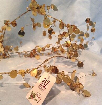"""Gold Sequin Christmas Garlands 72"""" Lot of 4 Raz Imports  $31.99"""