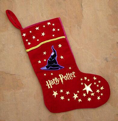 Harry Potter Warner Bros Red Velvet Embroidered Christmas Stocking New RARE