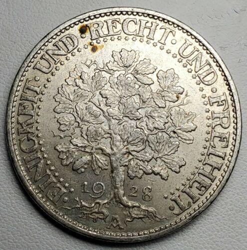 1928A GERMANY WEIMAR REPUBLIC 5 REICHSMARK-MS-KM 56-.500 SILVER-FREE USA SHIP