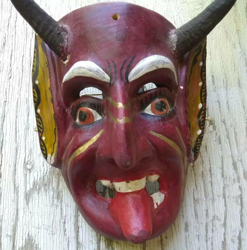 Vintage Mexican Diablo Devil Dance Mask Carved Wood & Goat Horns Guerrero Mexico