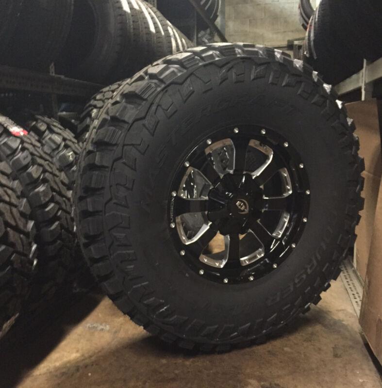 "(5) 17"" Vision Locker Black Wheels Rims 37"" Mt Tires 5x5 Jeep Wrangler Jk Tj"