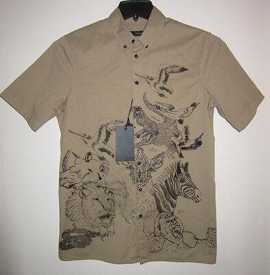 DSQUARED2 Casual Shirt Short Sleeve Safari Khaki Cotton Blnd Sz 44 $495