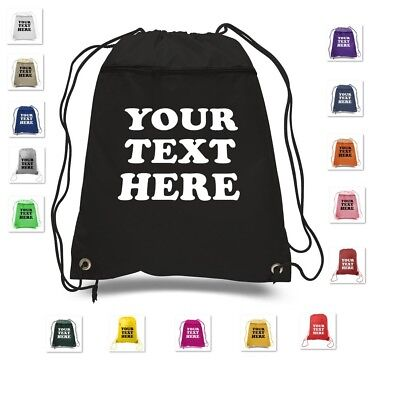 Custom Drawstring Backpack (CUSTOM PRINT YOUR OWN TEXT PERSONALIZED DRAWSTRING BACKPACK CINCH PACK)