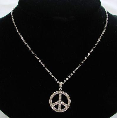 VINTAGE 14K WHITE GOLD & DIAMONDS PEACE SIGN PENDANT WITH 24
