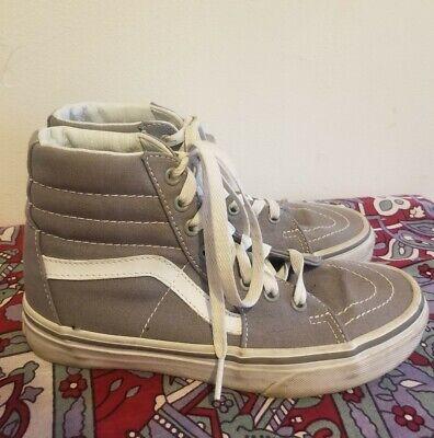 Vans Sk8 Hi High Top Classic Grey Canvas Sneakers Shoes Size 6.5