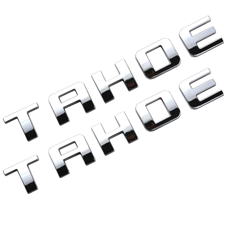 2pcs Chrome TAHOE Nameplate Emblems Plastic Letter for Chevrolet Chrome