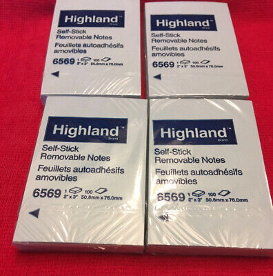 Lot Of 4 Pad 3m Highland 6569 Blue 2x3 400 Sheets Super Sticky Memo Notes