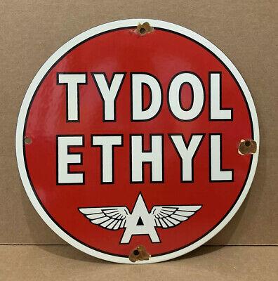 Vintage Porcelain Tydol Ethyl Gasoline Pump Sign Oil Gas Wall Decor Flying A