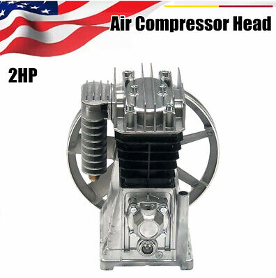 2hp Piston Style Twin Cylinder Air Compressor Air Pump Motor Head Oil Lubricated
