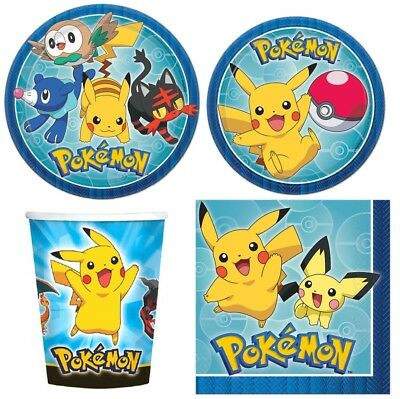 Pokemon Party Supplies Express Pack for 8 Guests (Cups Napkins & Plates) - Pokemon Party Supplies