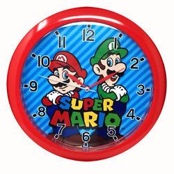 Wall Clock 10 Quartz Children Nintendo Super Mario Bros & Luigi Red NEW