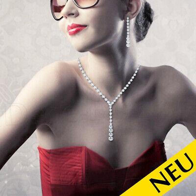 NEU 🌸 Statement STRASS Halskette & OHRRINGE Set Kristall Modeschmuck 🌸 Fashion