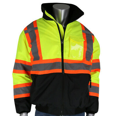 Pip Class 3 Insulated X-back Safety Bomber Jacket - Hi Vis Yellowlime