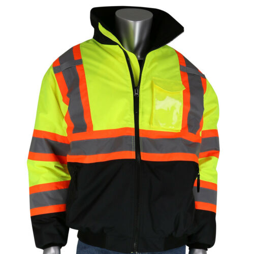 PIP Class 3 Insulated X-Back Safety Bomber Jacket - Hi Vis Yellow/Lime