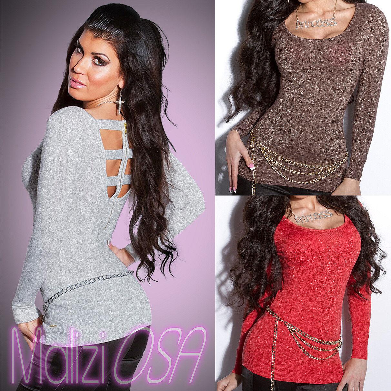 Maglia Lana Misto Sexy Aderente Pullover Donna Sweater Lurex Maglione rxrFCq