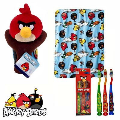 Rovio Angry Birds Travel Buddy Pillow Figure + Throw Blanket Blue + Bonus NEW