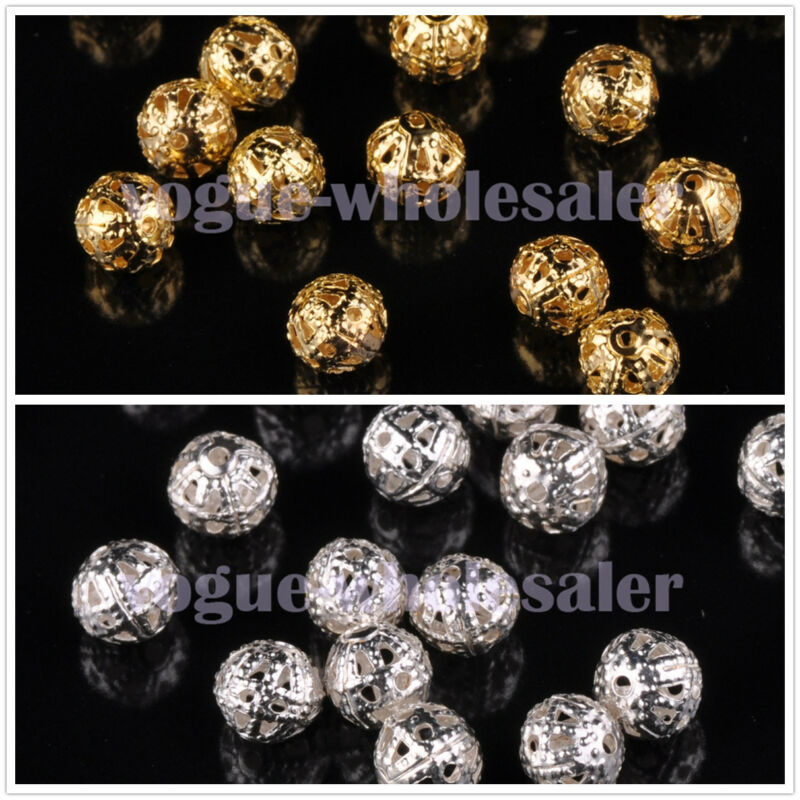 100pcs 4~8mm Round Metal Spacer Beads Jewelry Making Loose Charms Findings Bulk
