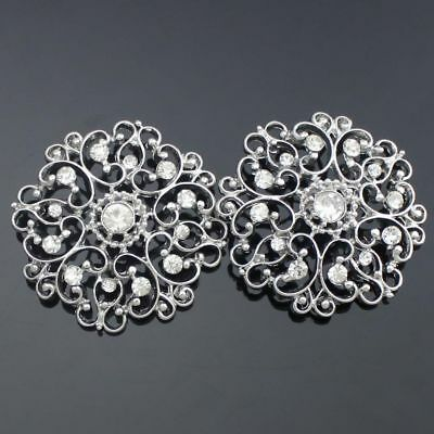 2pcs Alloy Glass Rhinestone Flower Shank Buttons Dress Costume DIY Sewing Craft