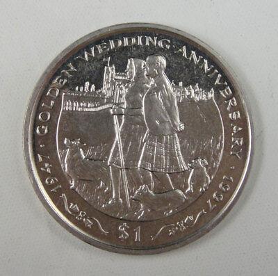 Liberia Commemorative Coin $1 1997 UNC, Golden Wedding Anniversary 1947-1997