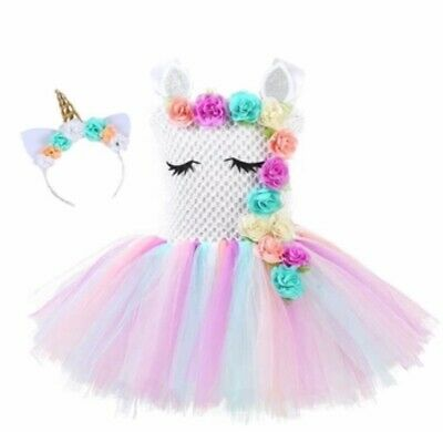 Unicorn Tutu Dress w/ Headband Birthday Party Dress Costume For Girls US SELLER](Dresses For Girls For Party)