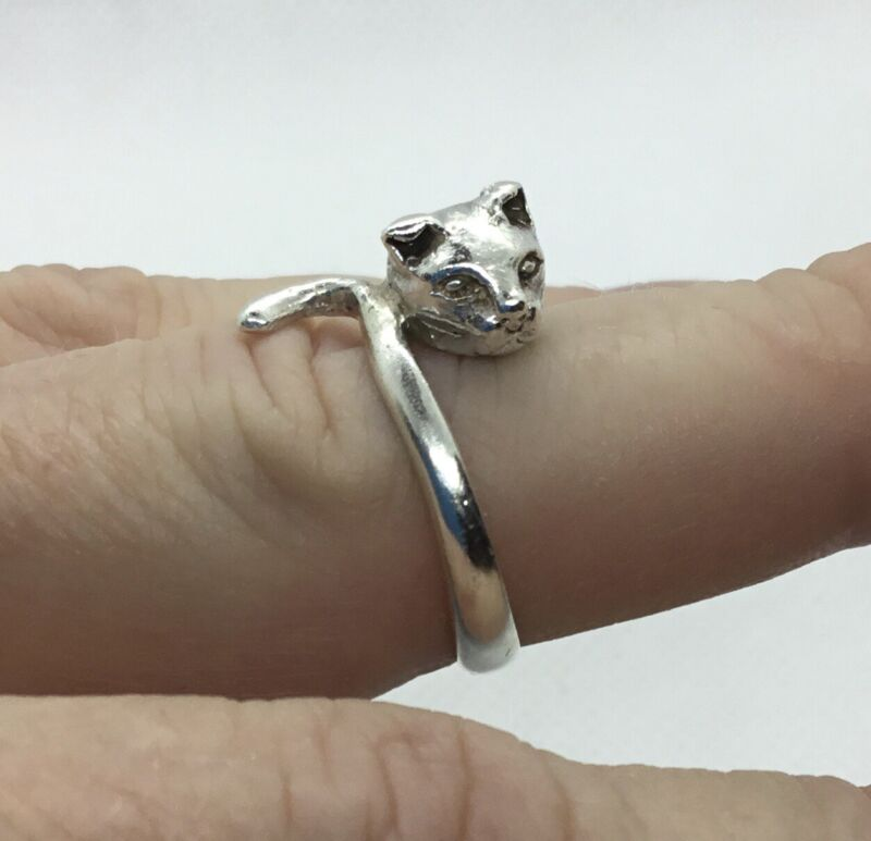 Vintage Sterling Silver Cat Ring, Size 5.25, VGUC, Adorable!