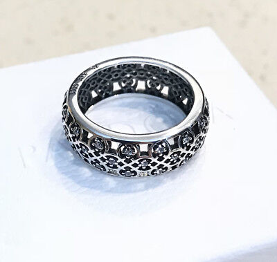 Pandora Intricate Lattice Ring #190955CZ + FREE HINGED BOX & POLISHING CLOTH
