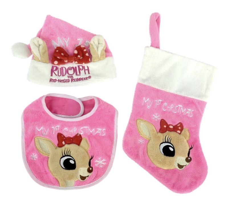 Rudolph's Clarice My 1st Christmas 3 pc Baby Set Stocking/Hat/Bib NWT