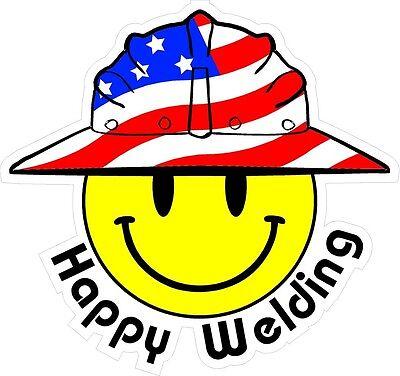3 - Happy Welding Smiley Usa Hardhat Oilfield Helmet Toolbox Sticker H817
