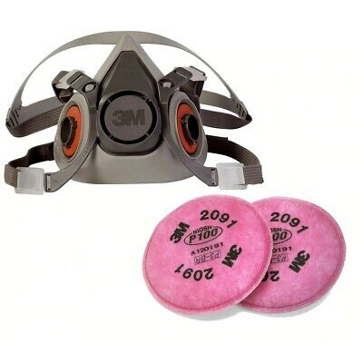 Respirator Half-face Face Mask Reusable 6300 Large New With 1 Pair Of Filters.