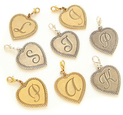 John Wind Charm for Bracelet or Necklace Heart Shaped Initial Jewelry New - John Wind Heart Necklace