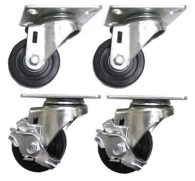 3 X 1-14 Hard Rubber Wheel Caster A2 - 4 Swivels With 2 Brake