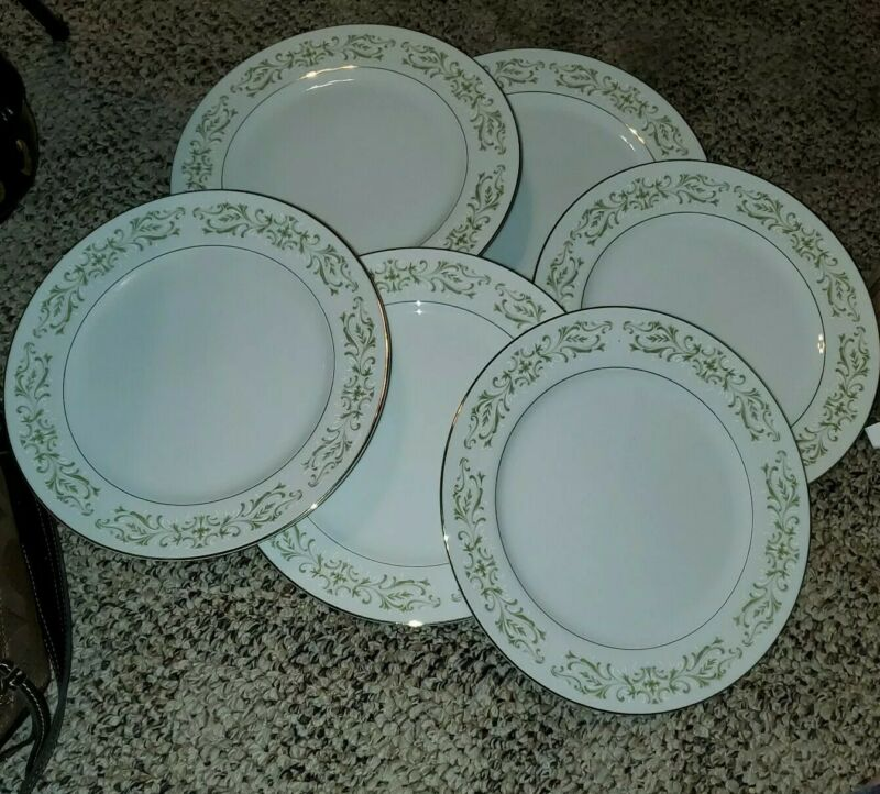Allegro Green Fine China Plate Japan Set of 6 Dinner Plates