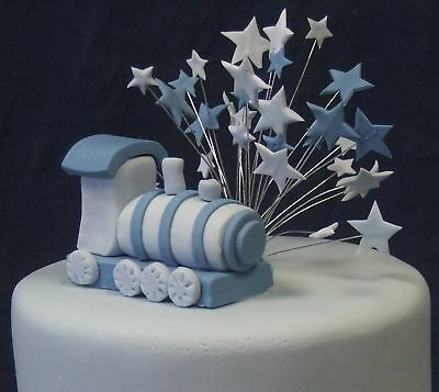 HANDMADE cake decorations - BLUE TRAIN & wired STAR TOPPER (Cake Saver)