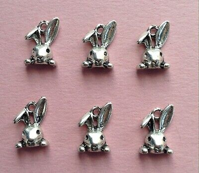 TIBETAN SILVER EASTER🐰BUNNY CHARMS (bent ear) - JEWELRY, CRAFTS --  14mm - 6pcs (Easter Bunny Crafts)